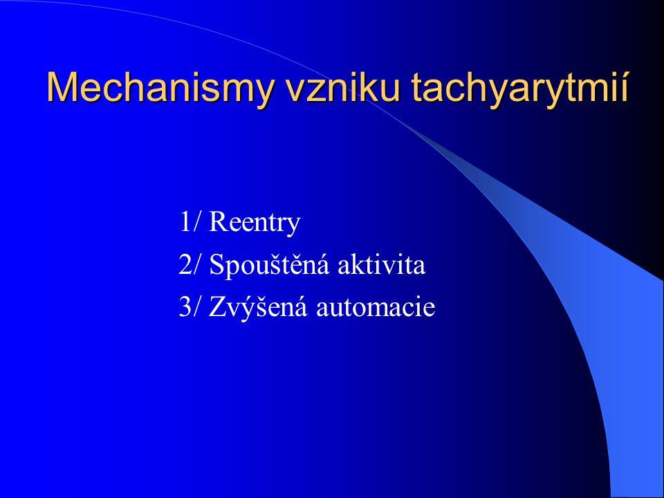 Mechanismy vzniku tachyarytmií 1/ Reentry 2/ Spouštěná aktivita 3/ Zvýšená automacie
