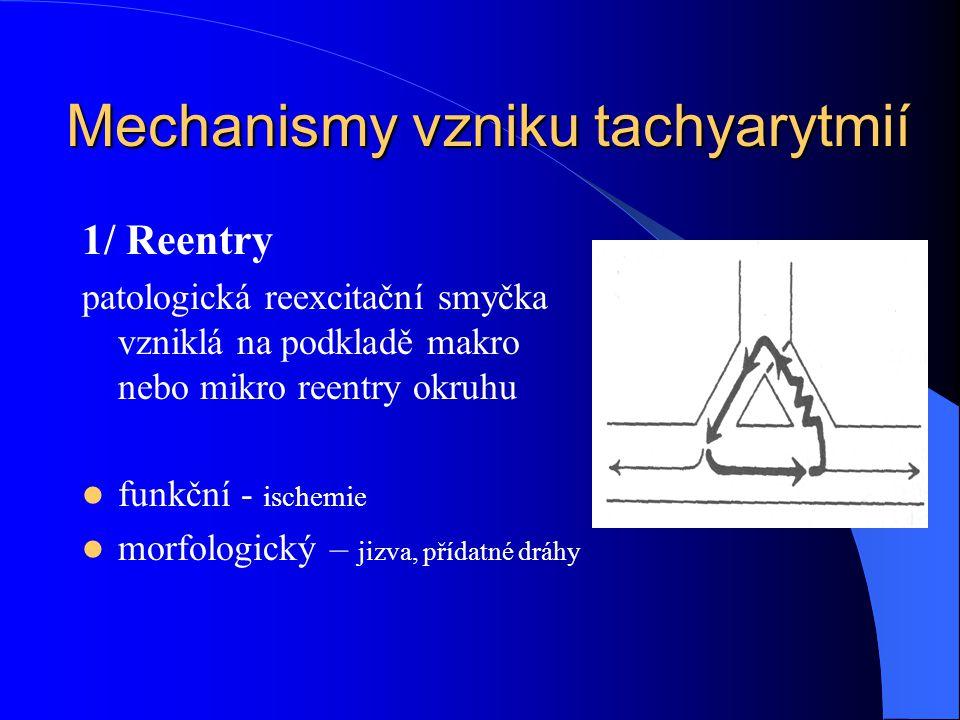 1/ Reentry patologická reexcitační smyčka vzniklá na podkladě makro nebo mikro reentry okruhu funkční - ischemie morfologický – jizva, přídatné dráhy Mechanismy vzniku tachyarytmií