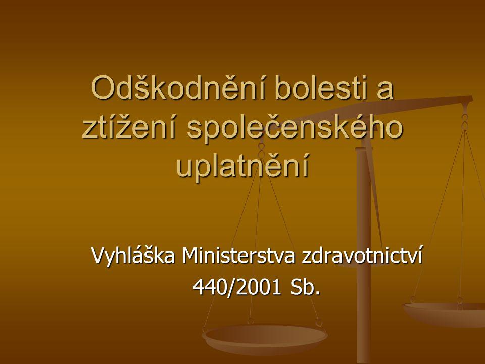 Odškodnění bolesti a ztížení společenského uplatnění Vyhláška Ministerstva zdravotnictví 440/2001 Sb.