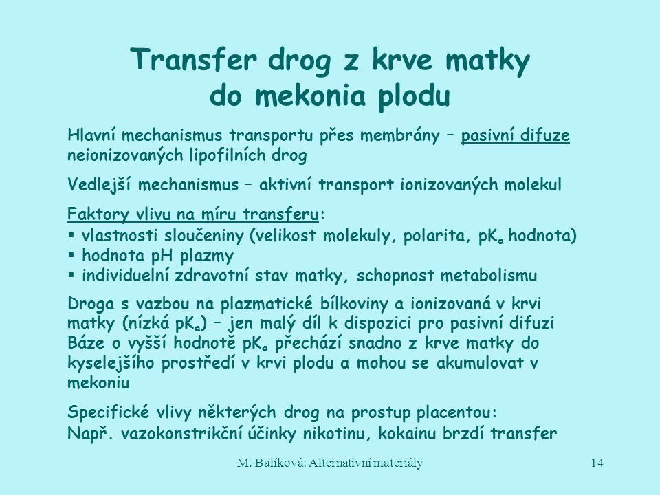 M. Balíková: Alternativní materiály14 Transfer drog z krve matky do mekonia plodu Hlavní mechanismus transportu přes membrány – pasivní difuze neioniz