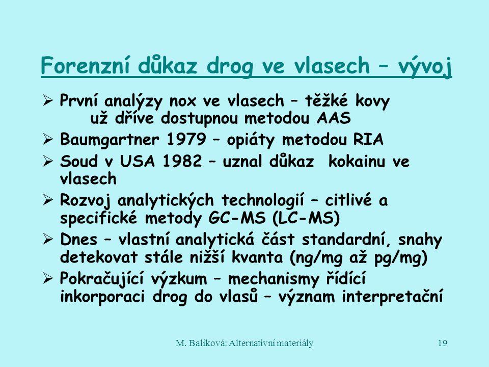 M. Balíková: Alternativní materiály19 Forenzní důkaz drog ve vlasech – vývoj  První analýzy nox ve vlasech – těžké kovy už dříve dostupnou metodou AA