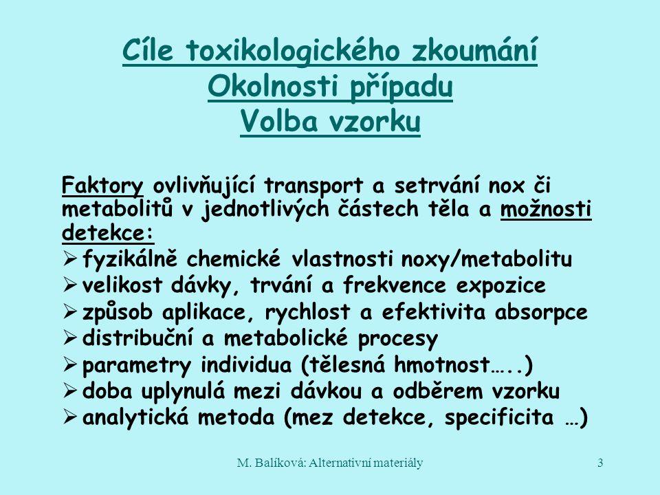 M. Balíková: Alternativní materiály3 Cíle toxikologického zkoumání Okolnosti případu Volba vzorku Faktory ovlivňující transport a setrvání nox či meta