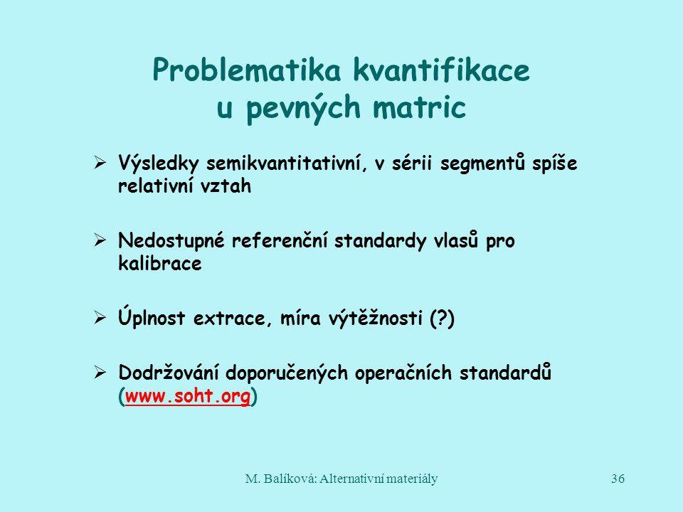 M. Balíková: Alternativní materiály36 Problematika kvantifikace u pevných matric  Výsledky semikvantitativní, v sérii segmentů spíše relativní vztah