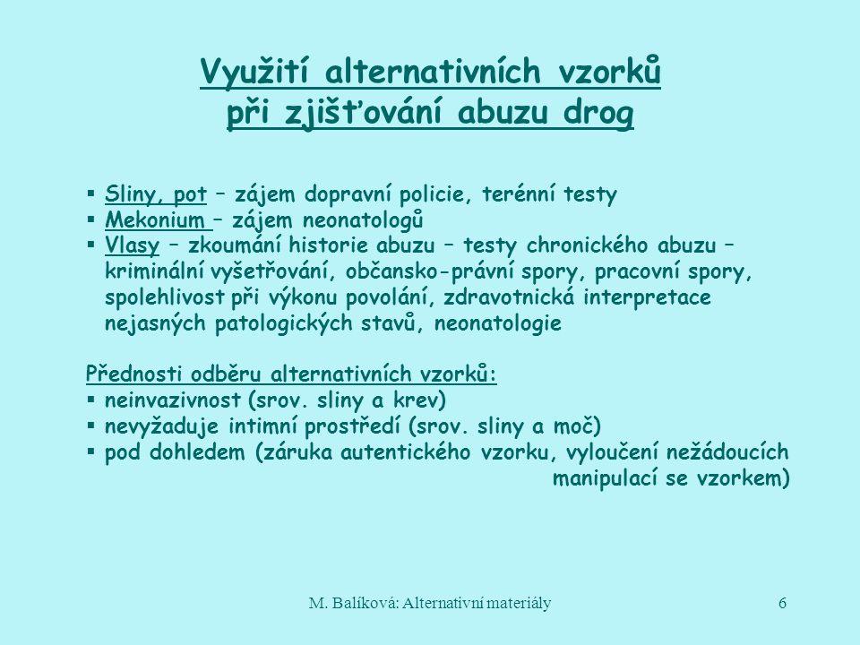 M. Balíková: Alternativní materiály6 Využití alternativních vzorků při zjišťování abuzu drog  Sliny, pot – zájem dopravní policie, terénní testy  Me