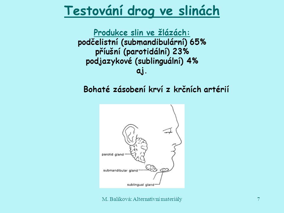 M. Balíková: Alternativní materiály7 Testování drog ve slinách Produkce slin ve žlázách: podčelistní (submandibulární) 65% příušní (parotidální) 23% p