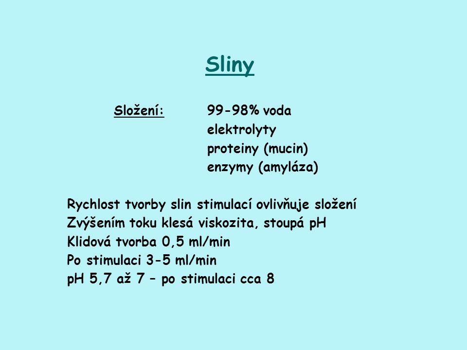 Sliny Složení: 99-98% voda elektrolyty proteiny (mucin) enzymy (amyláza) Rychlost tvorby slin stimulací ovlivňuje složení Zvýšením toku klesá viskozit