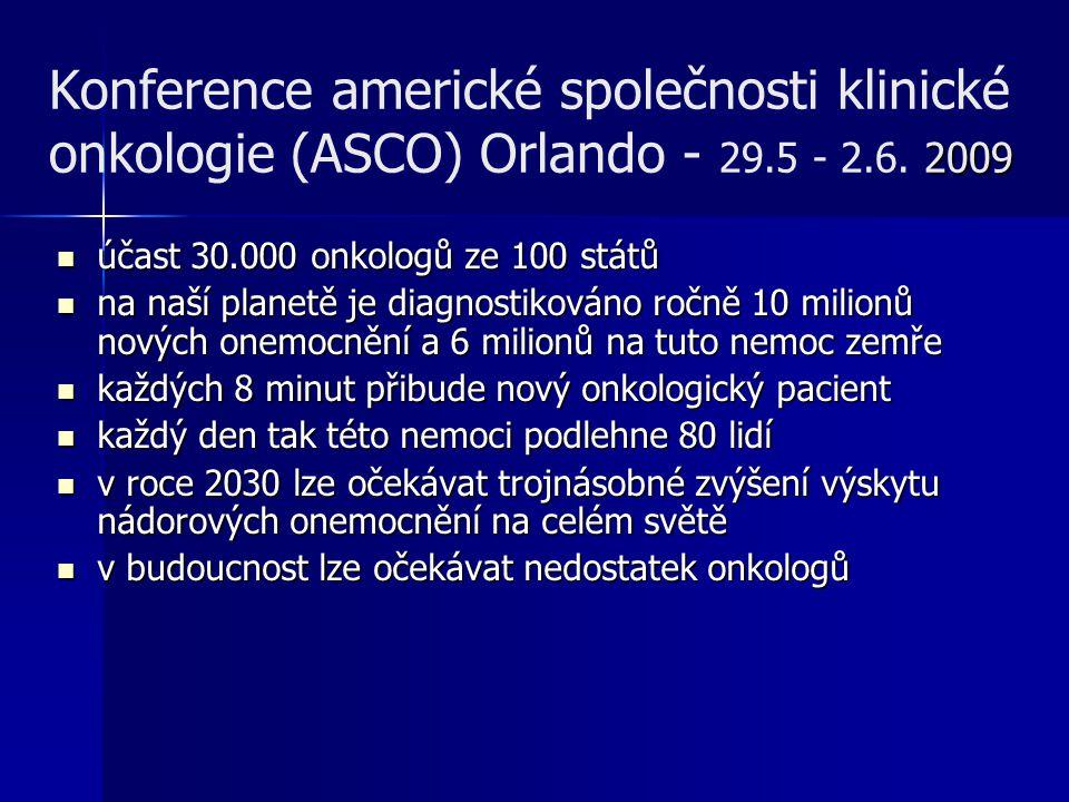 2009 Konference americké společnosti klinické onkologie (ASCO) Orlando - 29.5 - 2.6. 2009 účast 30.000 onkologů ze 100 států účast 30.000 onkologů ze