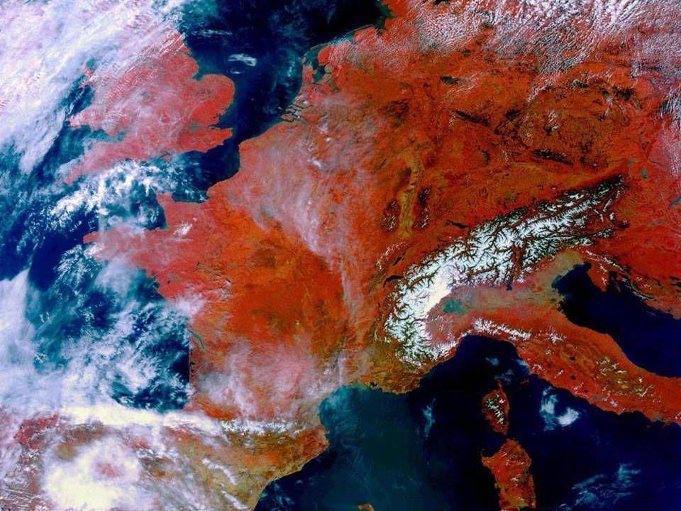 Část Evropy a bílý hřbet Alp ►