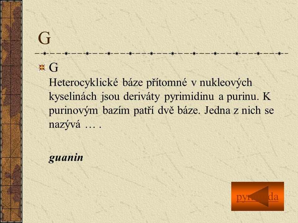 G G Heterocyklické báze přítomné v nukleových kyselinách jsou deriváty pyrimidinu a purinu.