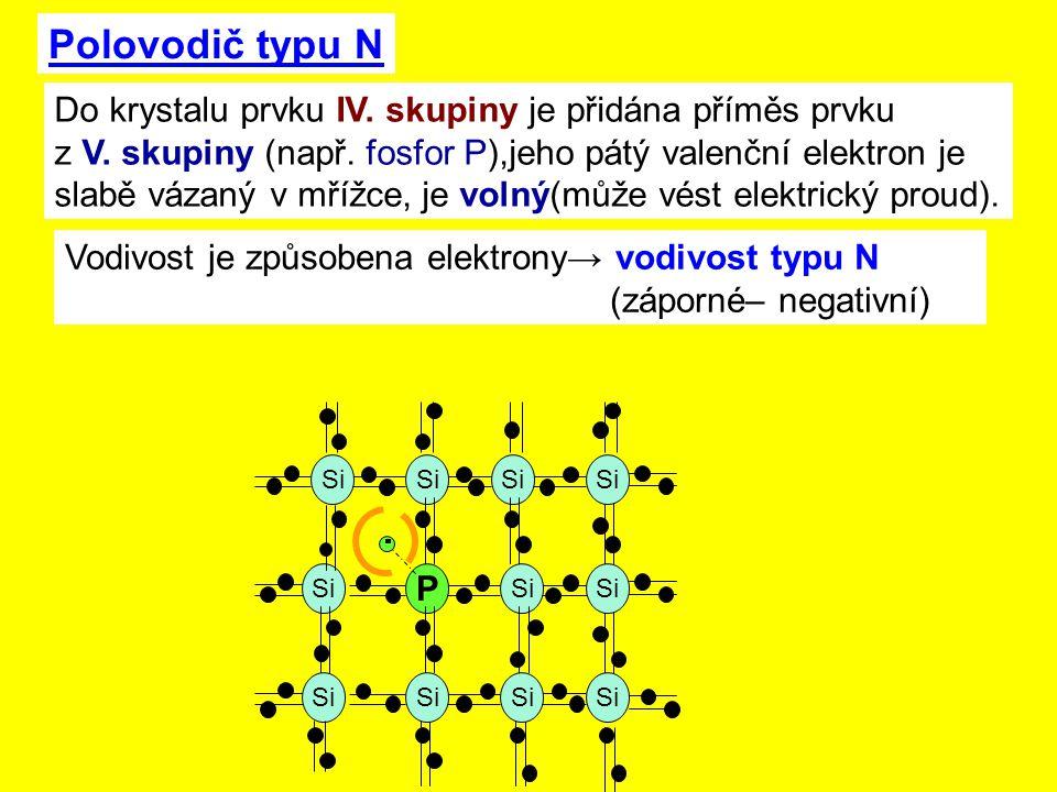 Polovodič typu N Si P Do krystalu prvku IV.skupiny je přidána příměs prvku z V.