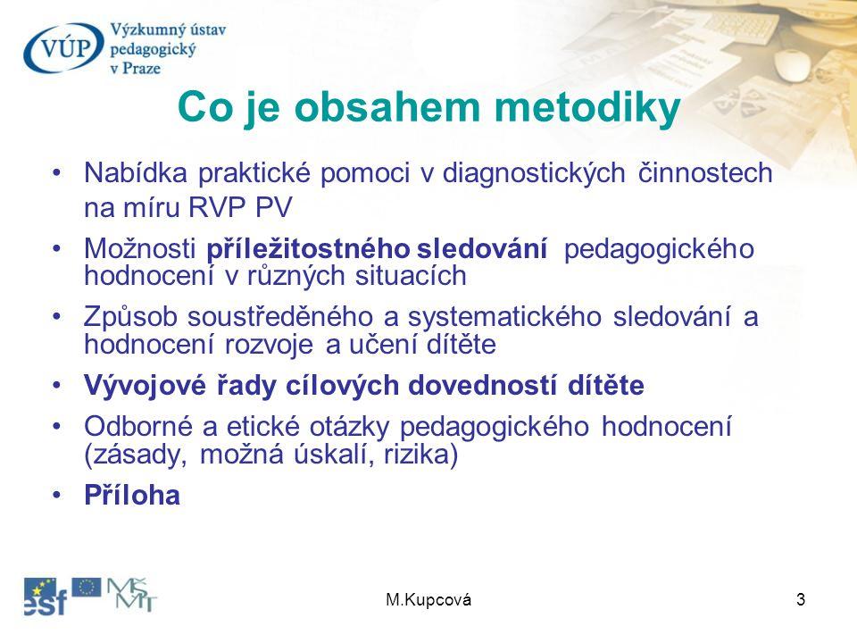 M.Kupcová3 Co je obsahem metodiky Nabídka praktické pomoci v diagnostických činnostech na míru RVP PV Možnosti příležitostného sledování pedagogického