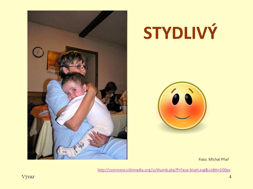 Výraz4 STYDLIVÝ http://commons.wikimedia.org/w/thumb.php?f=Face-blush.svg&width=200px Foto: Michal Pilař