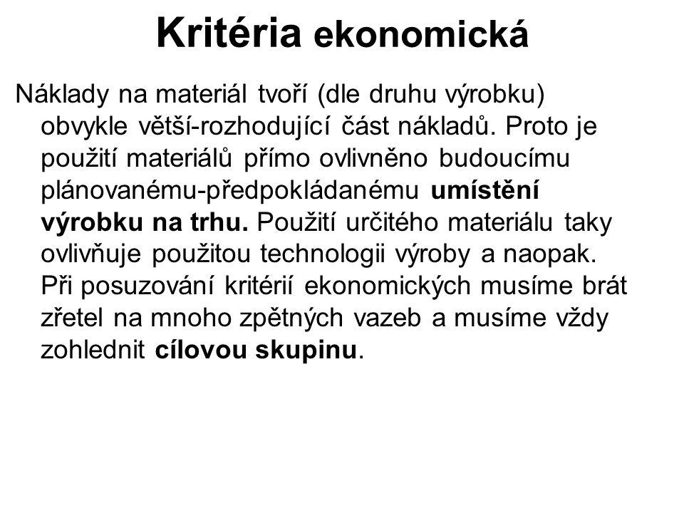 Kritéria ekonomická Náklady na materiál tvoří (dle druhu výrobku) obvykle větší-rozhodující část nákladů. Proto je použití materiálů přímo ovlivněno b