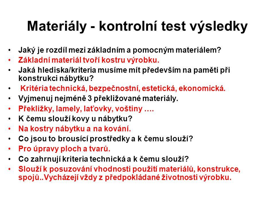 Materiály - kontrolní test výsledky Jaký je rozdíl mezi základním a pomocným materiálem? Základní materiál tvoří kostru výrobku. Jaká hlediska/kriteri