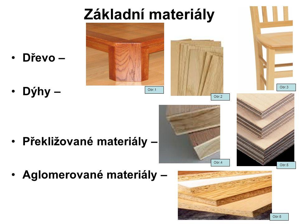 Základní materiály Dřevo – Dýhy – Překližované materiály – Aglomerované materiály – Obr.1 Obr.2 Obr.3 Obr.4 Obr.5 Obr.6