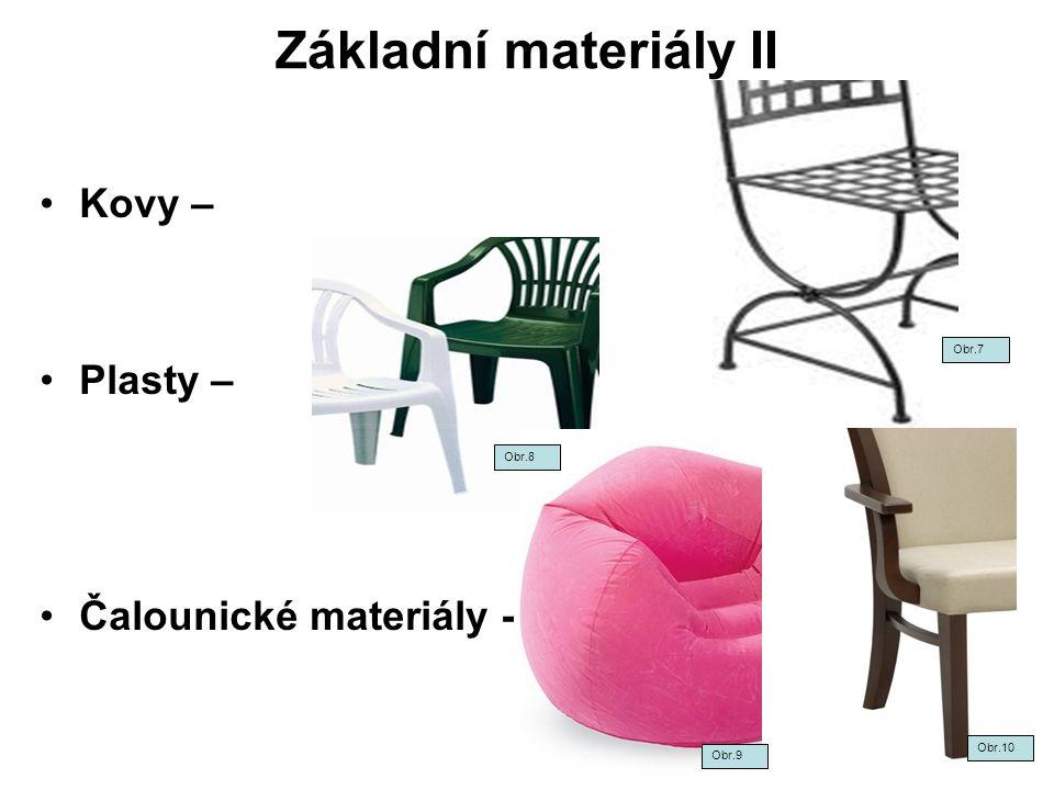 Materiály- kontrolní test II – popis obrázků- výsledky Spojovací prostředky Plasty Čalounické materiály Aglomerované materiály Dýhy Čalounické materiály Obr.20 Obr.21 Obr.22 Obr.23Obr.25 Obr.24