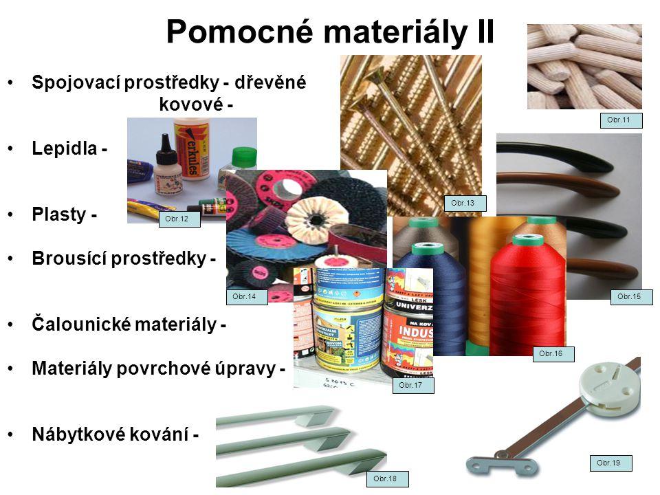 Pomocné materiály II Spojovací prostředky - dřevěné kovové - Lepidla - Plasty - Brousící prostředky - Čalounické materiály - Materiály povrchové úprav