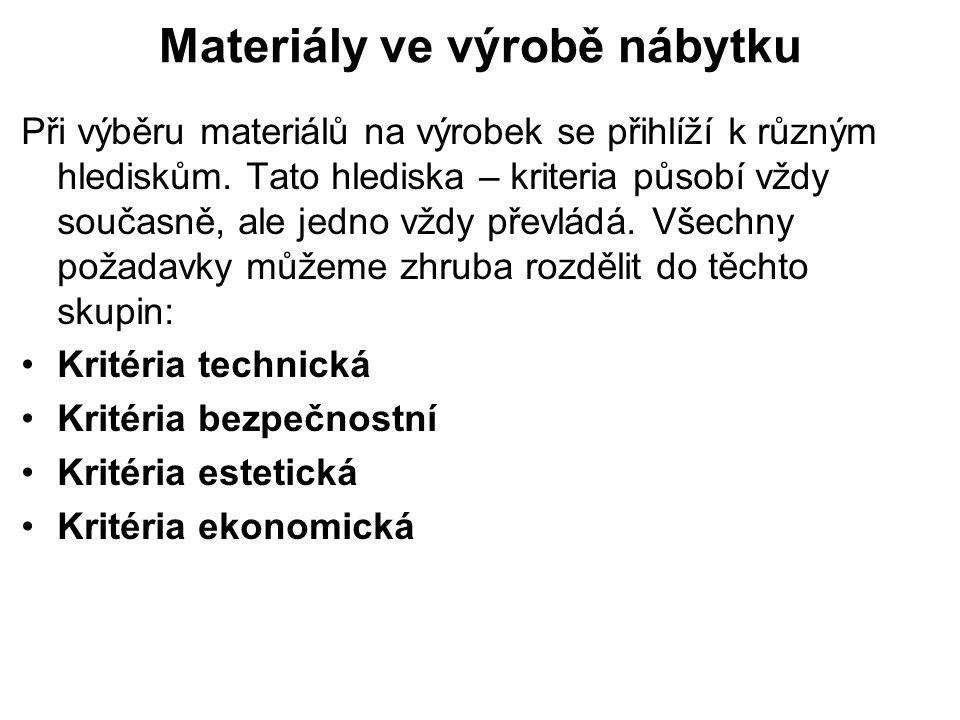 Materiály ve výrobě nábytku Při výběru materiálů na výrobek se přihlíží k různým hlediskům. Tato hlediska – kriteria působí vždy současně, ale jedno v