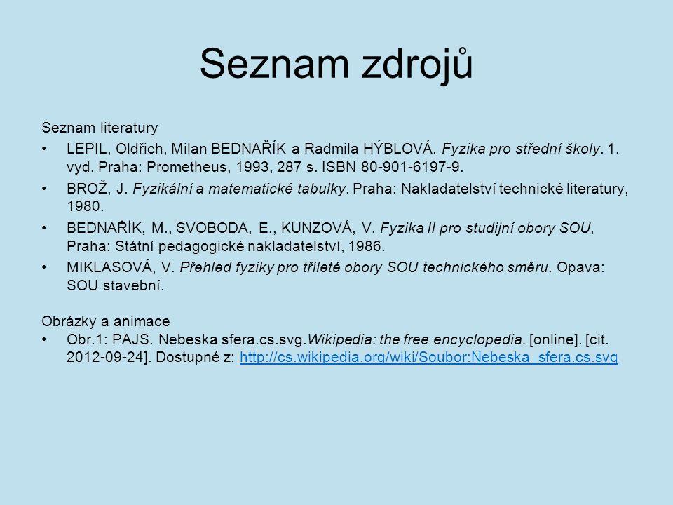 Seznam zdrojů Seznam literatury LEPIL, Oldřich, Milan BEDNAŘÍK a Radmila HÝBLOVÁ. Fyzika pro střední školy. 1. vyd. Praha: Prometheus, 1993, 287 s. IS