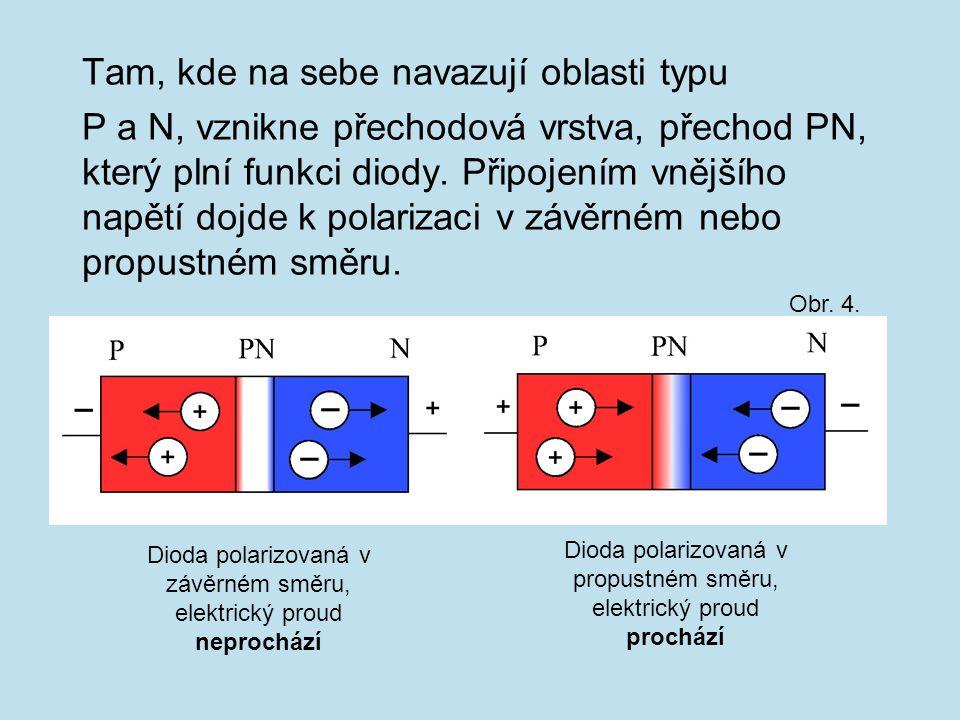 Tam, kde na sebe navazují oblasti typu P a N, vznikne přechodová vrstva, přechod PN, který plní funkci diody. Připojením vnějšího napětí dojde k polar