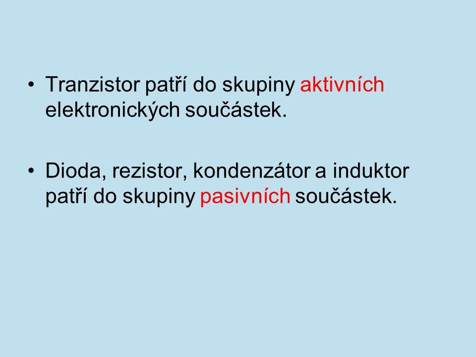 Tranzistor patří do skupiny aktivních elektronických součástek. Dioda, rezistor, kondenzátor a induktor patří do skupiny pasivních součástek.