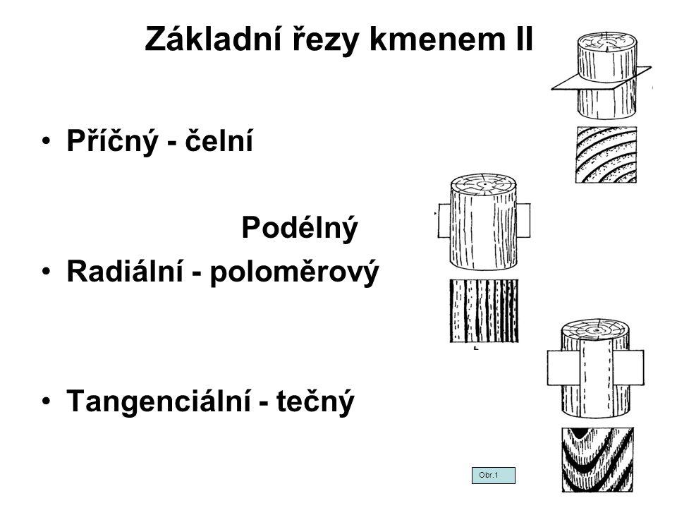 Základní řezy kmenem II Příčný - čelní Podélný Radiální - poloměrový Tangenciální - tečný Obr.1