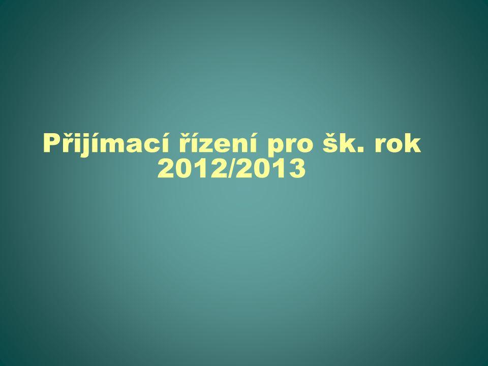 Přijímací řízení pro šk. rok 2012/2013