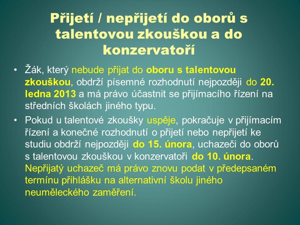 Přijetí / nepřijetí do oborů s talentovou zkouškou a do konzervatoří Žák, který nebude přijat do oboru s talentovou zkouškou, obdrží písemné rozhodnutí nejpozději do 20.