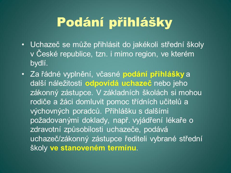 Podání přihlášky Uchazeč se může přihlásit do jakékoli střední školy v České republice, tzn. i mimo region, ve kterém bydlí. Za řádné vyplnění, včasné