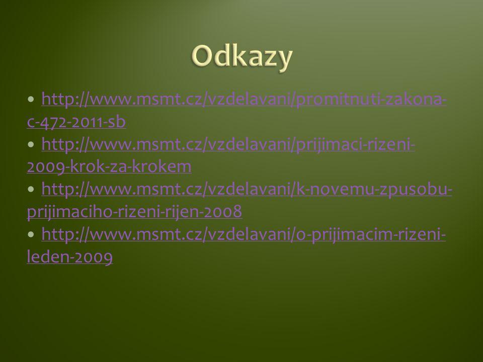http://www.msmt.cz/vzdelavani/promitnuti-zakona- c-472-2011-sb http://www.msmt.cz/vzdelavani/promitnuti-zakona- c-472-2011-sb http://www.msmt.cz/vzdelavani/prijimaci-rizeni- 2009-krok-za-krokem http://www.msmt.cz/vzdelavani/prijimaci-rizeni- 2009-krok-za-krokem http://www.msmt.cz/vzdelavani/k-novemu-zpusobu- prijimaciho-rizeni-rijen-2008 http://www.msmt.cz/vzdelavani/k-novemu-zpusobu- prijimaciho-rizeni-rijen-2008 http://www.msmt.cz/vzdelavani/o-prijimacim-rizeni- leden-2009 http://www.msmt.cz/vzdelavani/o-prijimacim-rizeni- leden-2009