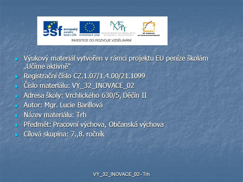 """Výukový materiál vytvořen v rámci projektu EU peníze školám """"Učíme aktivně Výukový materiál vytvořen v rámci projektu EU peníze školám """"Učíme aktivně Registrační číslo CZ.1.07/1.4.00/21.1099 Registrační číslo CZ.1.07/1.4.00/21.1099 Číslo materiálu: VY_32_INOVACE_02 Číslo materiálu: VY_32_INOVACE_02 Adresa školy: Vrchlického 630/5, Děčín II Adresa školy: Vrchlického 630/5, Děčín II Autor: Mgr."""