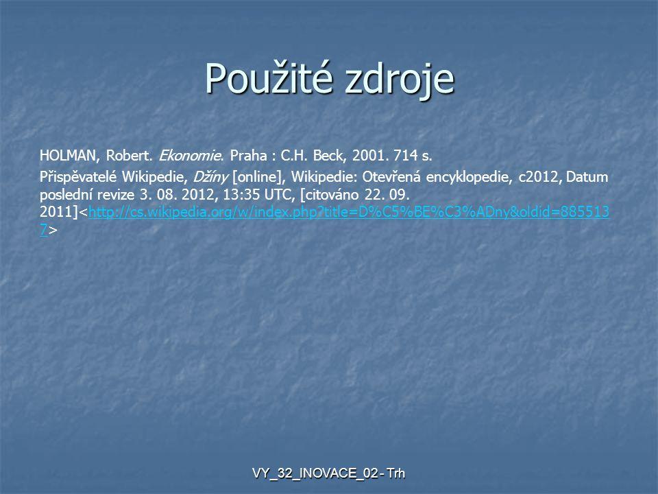 Použité zdroje HOLMAN, Robert.Ekonomie. Praha : C.H.