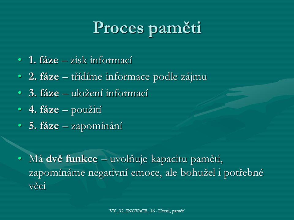 Proces paměti 1. fáze – zisk informací1. fáze – zisk informací 2.
