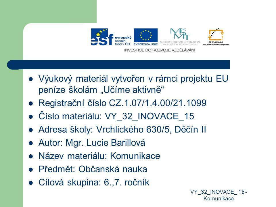 """Výukový materiál vytvořen v rámci projektu EU peníze školám """"Učíme aktivně"""" Registrační číslo CZ.1.07/1.4.00/21.1099 Číslo materiálu: VY_32_INOVACE_15"""