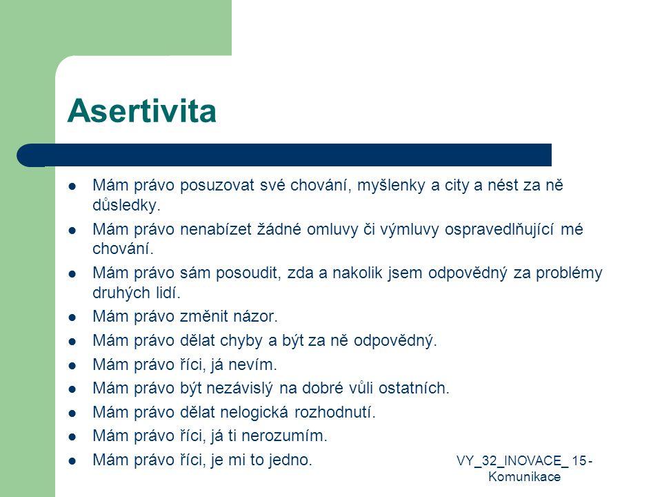 Asertivita Mám právo posuzovat své chování, myšlenky a city a nést za ně důsledky. Mám právo nenabízet žádné omluvy či výmluvy ospravedlňující mé chov