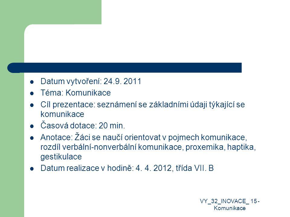 Datum vytvoření: 24.9. 2011 Téma: Komunikace Cíl prezentace: seznámení se základními údaji týkající se komunikace Časová dotace: 20 min. Anotace: Žáci
