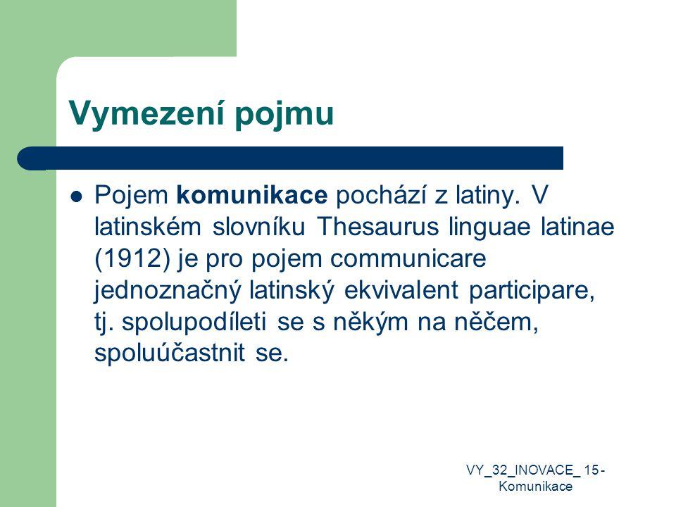Vymezení pojmu Pojem komunikace pochází z latiny. V latinském slovníku Thesaurus linguae latinae (1912) je pro pojem communicare jednoznačný latinský