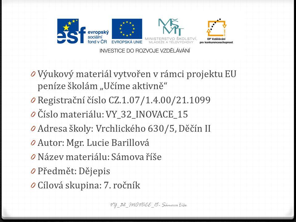 """0 Výukový materiál vytvořen v rámci projektu EU peníze školám """"Učíme aktivně 0 Registrační číslo CZ.1.07/1.4.00/21.1099 0 Číslo materiálu: VY_32_INOVACE_15 0 Adresa školy: Vrchlického 630/5, Děčín II 0 Autor: Mgr."""