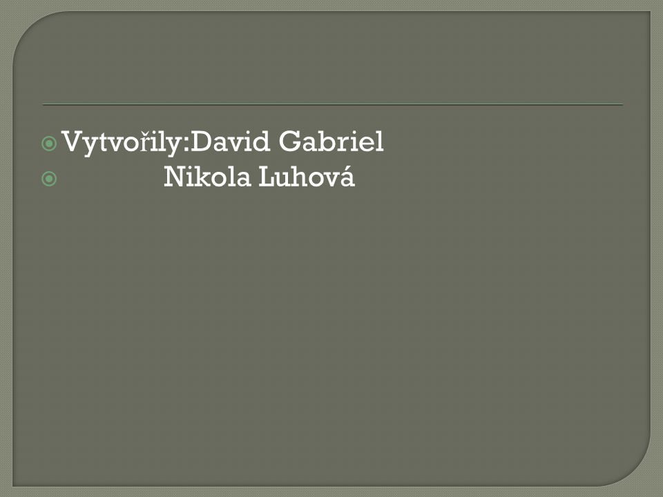  Vytvo ř ily:David Gabriel  Nikola Luhová
