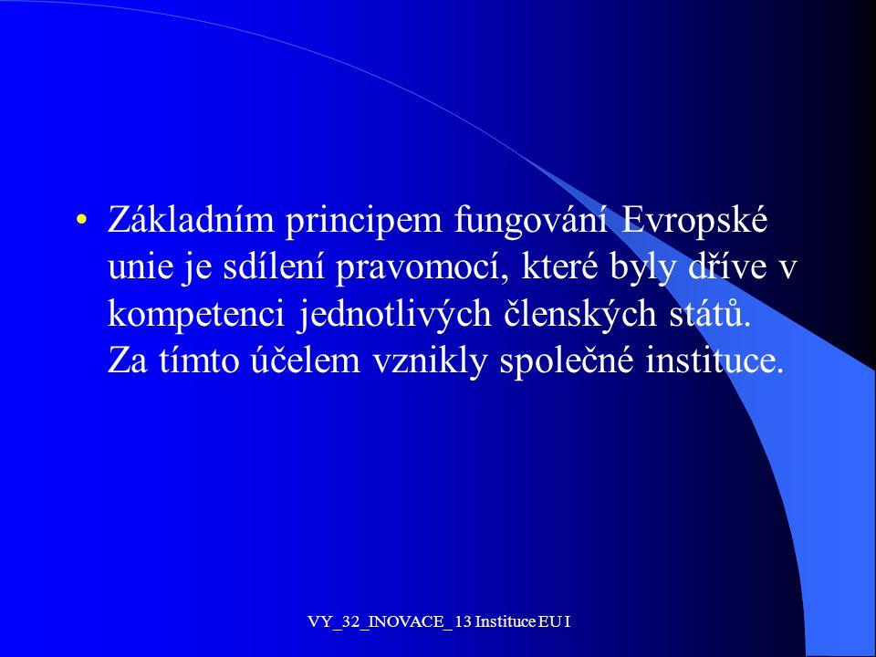 Základním principem fungování Evropské unie je sdílení pravomocí, které byly dříve v kompetenci jednotlivých členských států. Za tímto účelem vznikly
