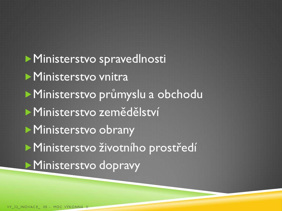  Ministerstvo spravedlnosti  Ministerstvo vnitra  Ministerstvo průmyslu a obchodu  Ministerstvo zemědělství  Ministerstvo obrany  Ministerstvo ž