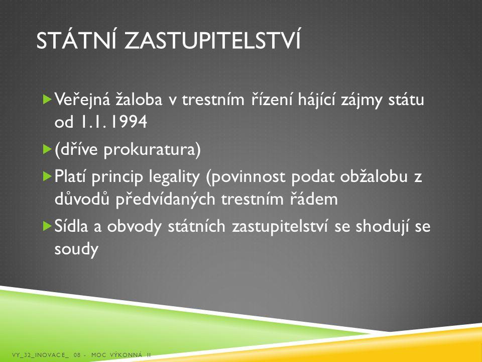 STÁTNÍ ZASTUPITELSTVÍ  Veřejná žaloba v trestním řízení hájící zájmy státu od 1.1. 1994  (dříve prokuratura)  Platí princip legality (povinnost pod