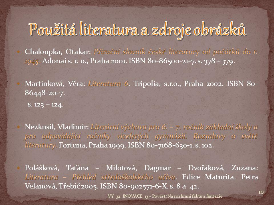 Příruční slovník české literatury od počátků do r.