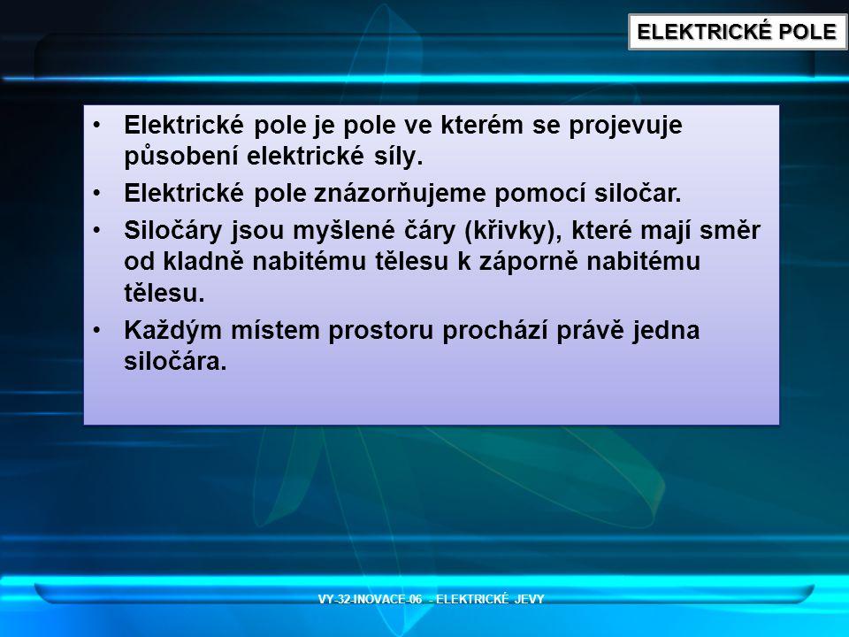 ELEKTRICKÉ POLE Elektrické pole je pole ve kterém se projevuje působení elektrické síly. Elektrické pole znázorňujeme pomocí siločar. Siločáry jsou my