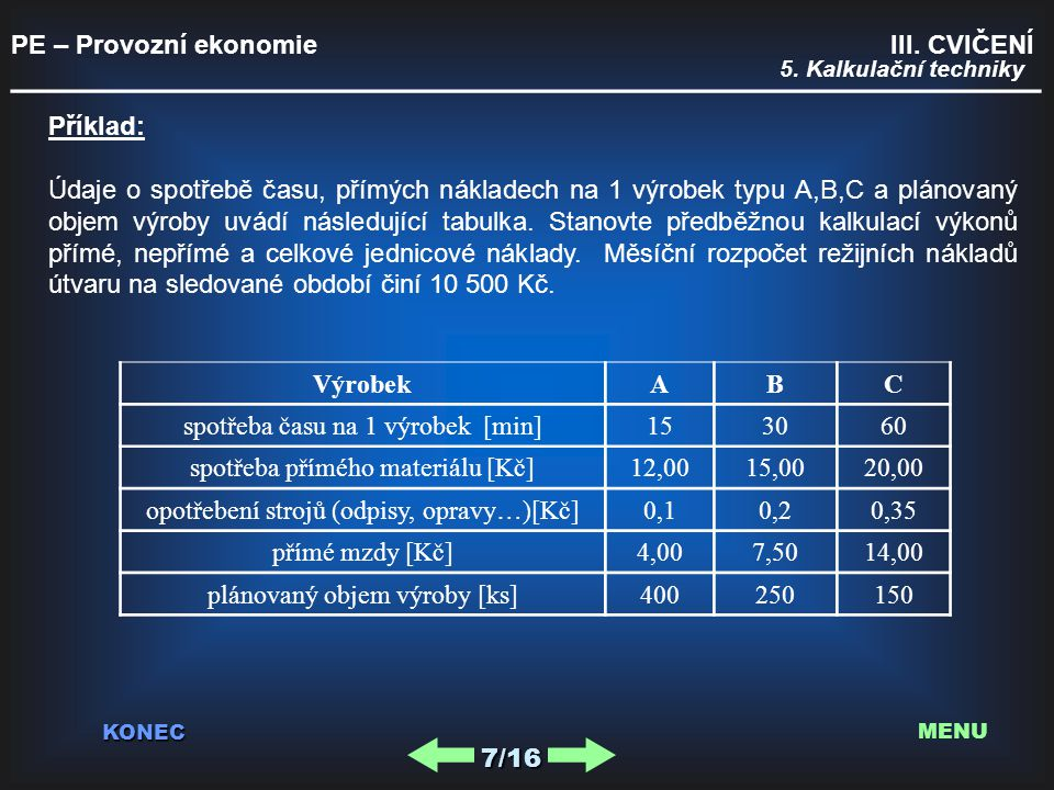 PE – Provozní ekonomie III.