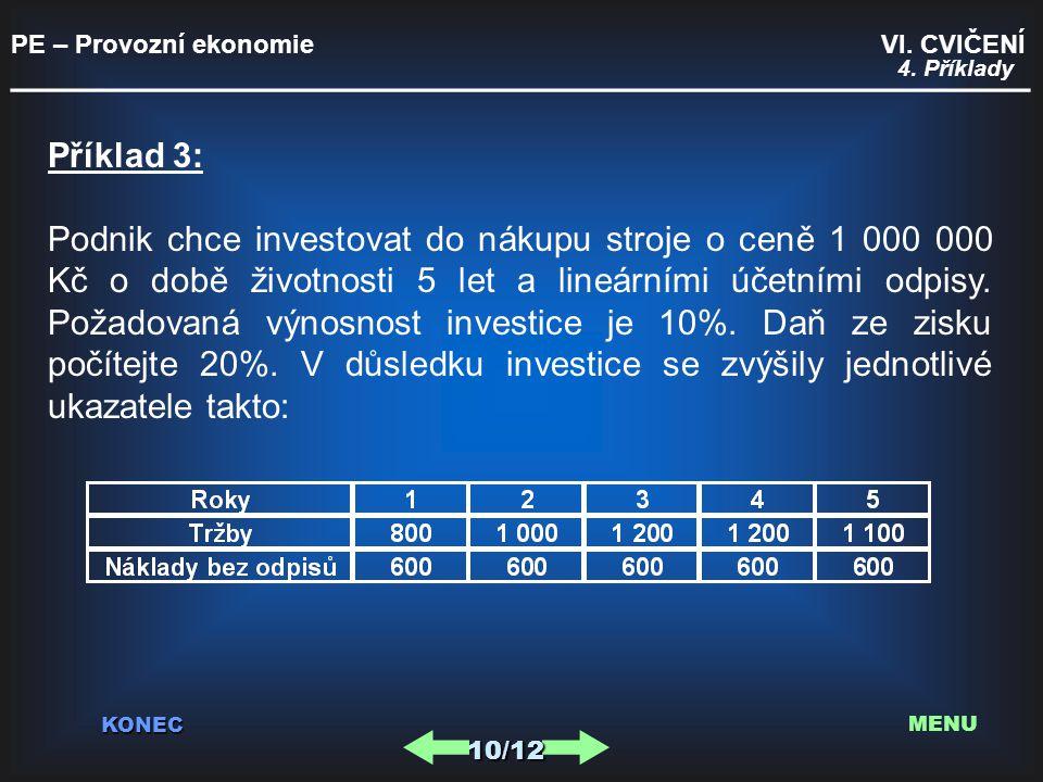 PE – Provozní ekonomie VI. CVIČENÍ _________________________________________ KONEC 10/12 MENU 4. Příklady Příklad 3: Podnik chce investovat do nákupu