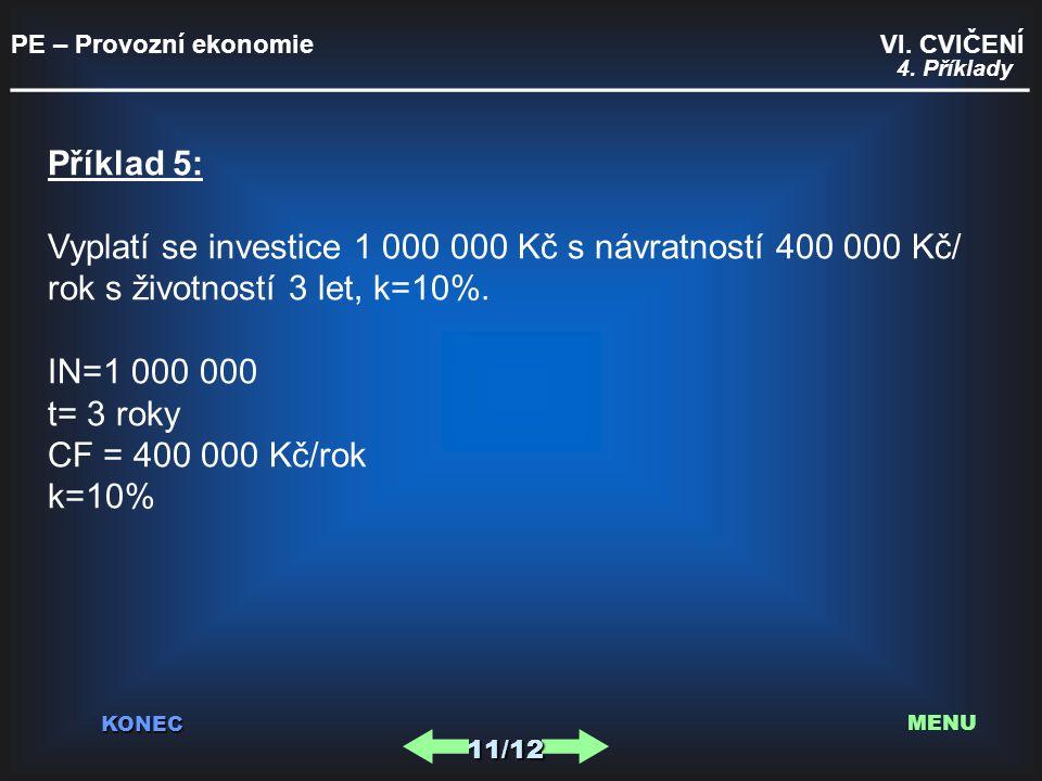 PE – Provozní ekonomie VI. CVIČENÍ _________________________________________ KONEC 11/12 MENU 4. Příklady Příklad 5: Vyplatí se investice 1 000 000 Kč