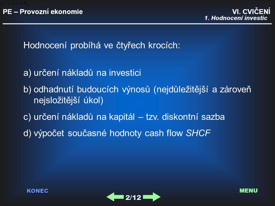 PE – Provozní ekonomie VI. CVIČENÍ _________________________________________ KONEC 2/12 MENU Hodnocení probíhá ve čtyřech krocích: a)určení nákladů na