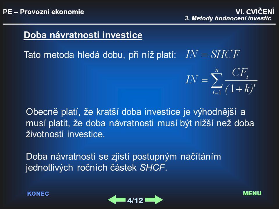 PE – Provozní ekonomie VI. CVIČENÍ _________________________________________ KONEC 4/12 MENU 3. Metody hodnocení investic Doba návratnosti investice T