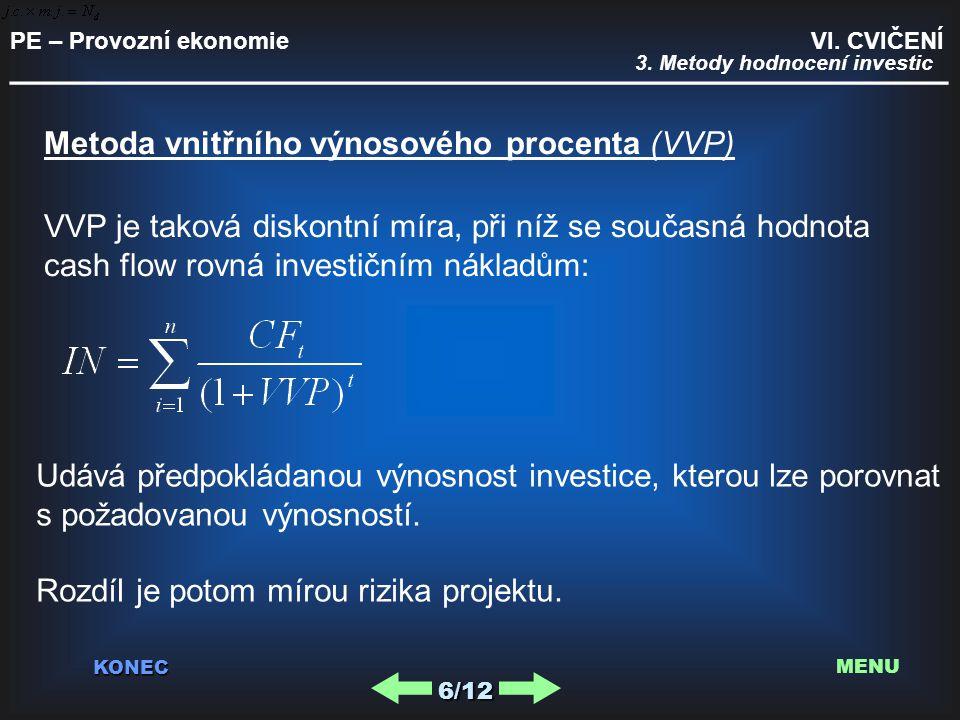 PE – Provozní ekonomie VI. CVIČENÍ _________________________________________ KONEC 6/12 MENU 3. Metody hodnocení investic Metoda vnitřního výnosového